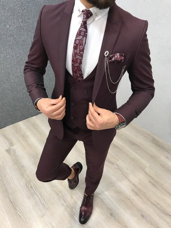 Warren Burgundy Three Pieces Slim Fit Peaked Lapel Men Suits
