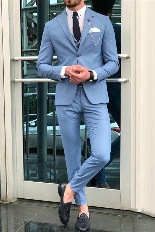 Romeo Blue Peaked Lapel Slim Fit Fashion Men Suits