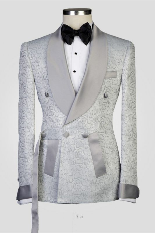 Braiden Silver Shawl Lapel Double Breasted Jacquard Wedding Suits