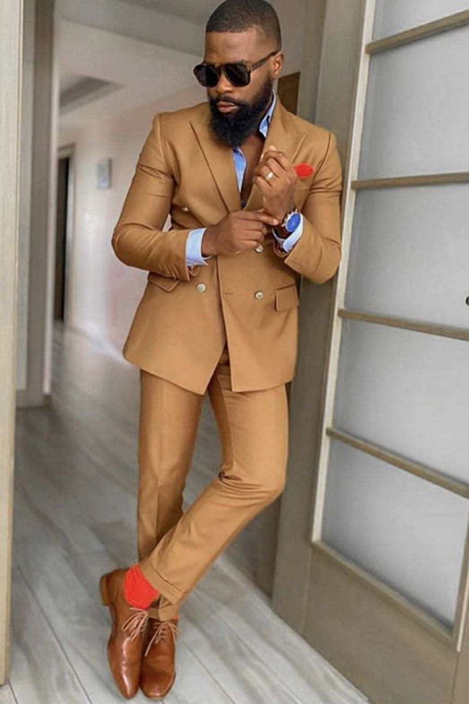 Kolton Bespoke Peaked Lapel Double Breasted Slim Fit Prom Suits