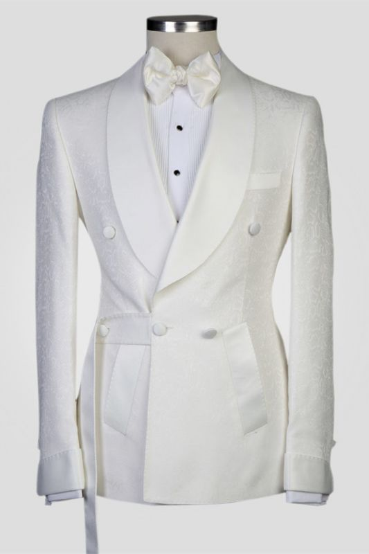 Roy White Jacquard Shawl Lapel Double Breasted Men Suits for Wedding