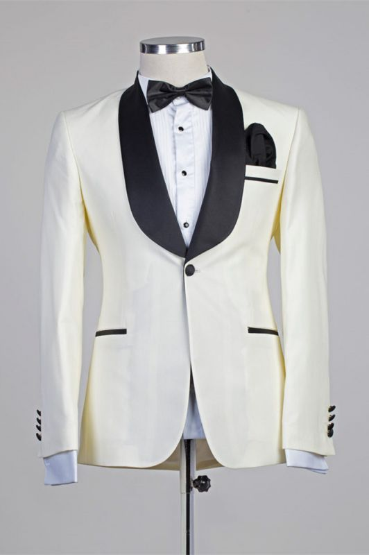 Moses Ivory One Button Simple Slim Fit Wedding Suits with Black Lapel