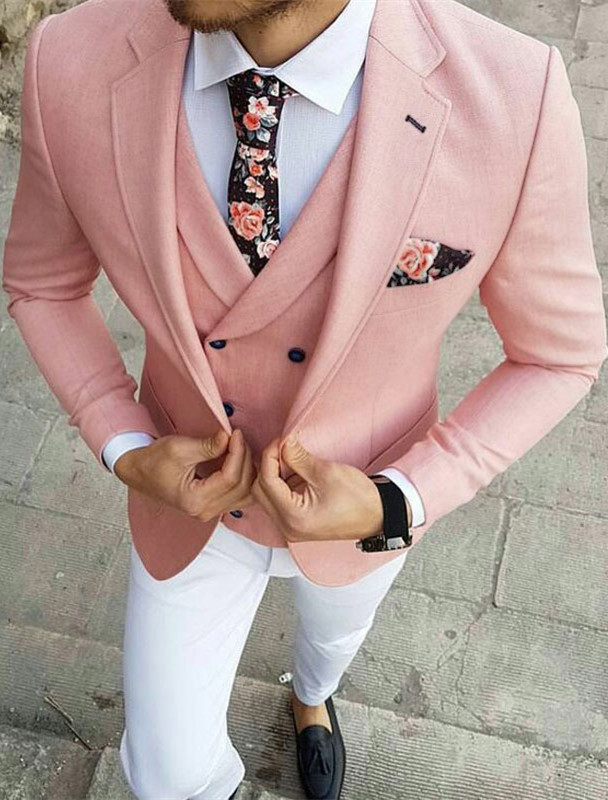 Reese Pink Three-Pieces Slim Fit Notched Lapel Prom Men Suits