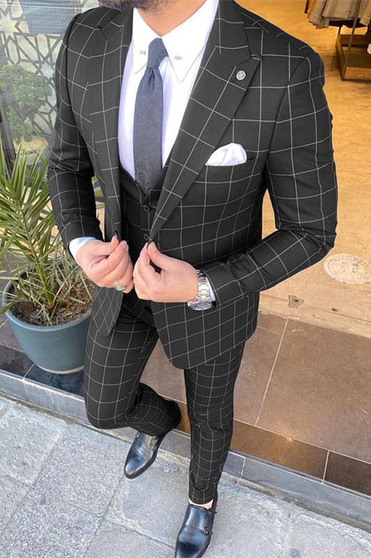 Micheal Black Plaid Peaked Lapel Three-Pieces Men Suits