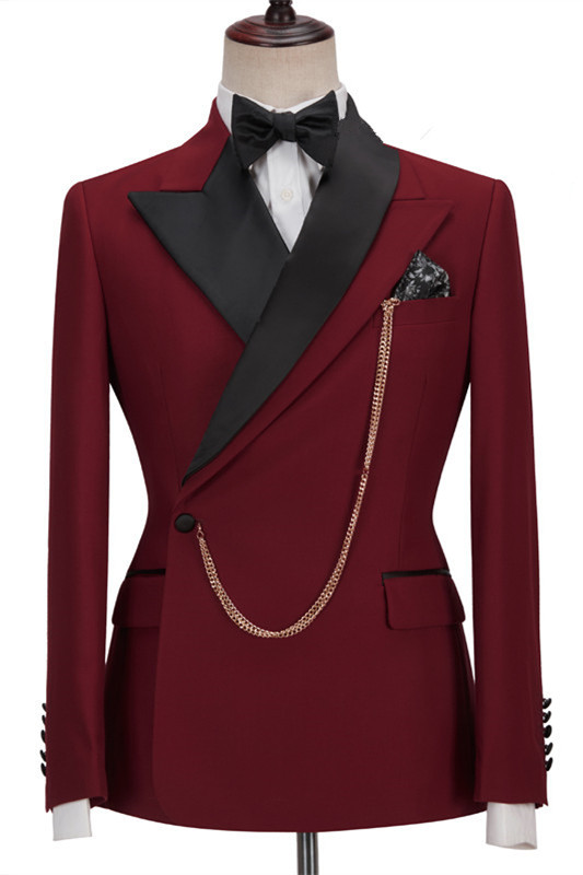 Gunner Red Peaked Lapel Slim Fit Fashion Men Suits for Prom