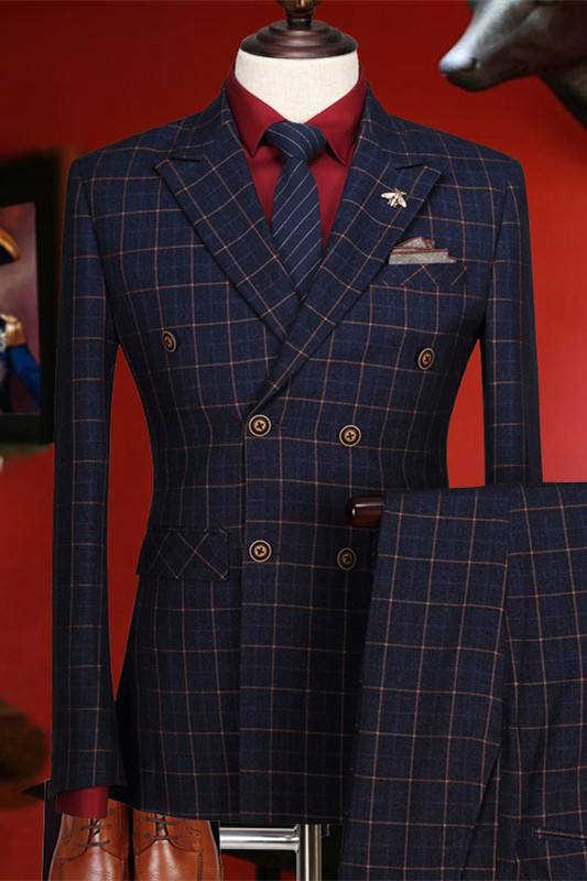 Terry Dark Blue Plaid Peaked Lapel Double Breasted Prom Suits