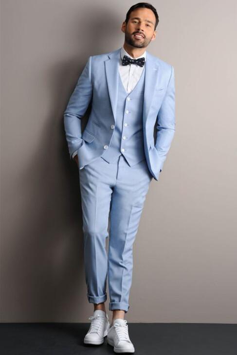 Leon Sky Blue Three Pieces Notched Lapel Fashion Men Suits