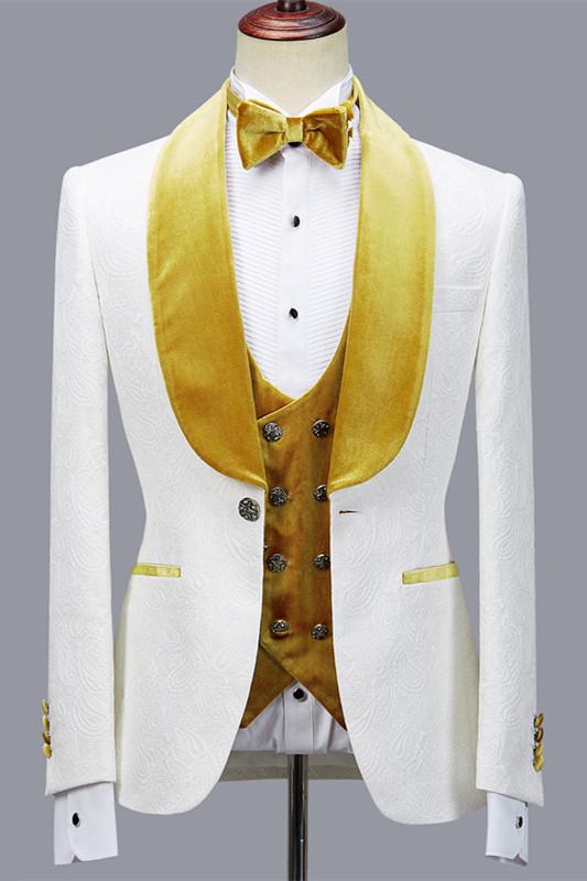 Cyrus Three Pieces Jacquard White Wedding Men's Suit with Velvet Lapel