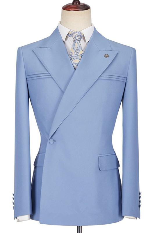 Porter Blue Slim Fit Peaked Lapel Ruffles Fashion Prom Men Suits