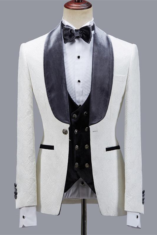 Maverick Stylish Jacquard Slim Fit Shawl Lapel Wedding Men Suits