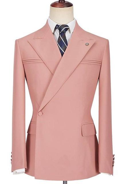 Leonel Pink Peaked Lapel Ruffles Fashion Slim Fit Prom Men Suits