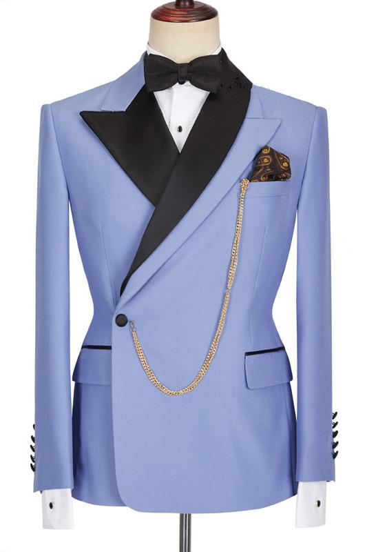 Kale Fashion Blue Peaked Lapel Slim Fit Bespoke Men Suits