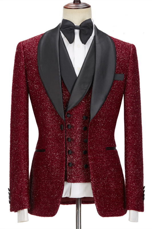 Damon Sparkle Red Three Pieces Wedding Suits with Black Shawl Lapel