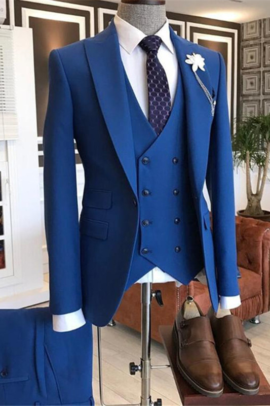 Quincy Stylish Blue Three-Pieces Peaked Lapel Men Suits