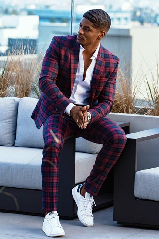 Tshibanda Fashion Plaid Slim Fit Bespoke Prom Men's Suit