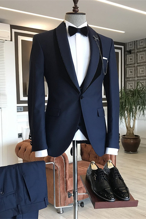 Tomas Navy Blue Shawl Lapel One Button Wedding Groom Suits
