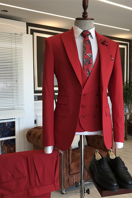 Gilberto Red Bespoke Three Pieces Peaked Lapel Prom Men Suits