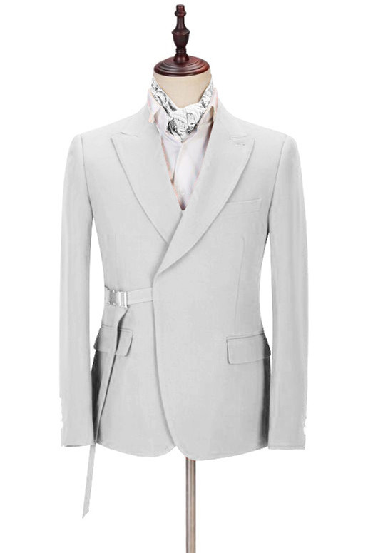 Joey Handsome Peaked Lapel  Silver Men Suits with Adjustable Buckle