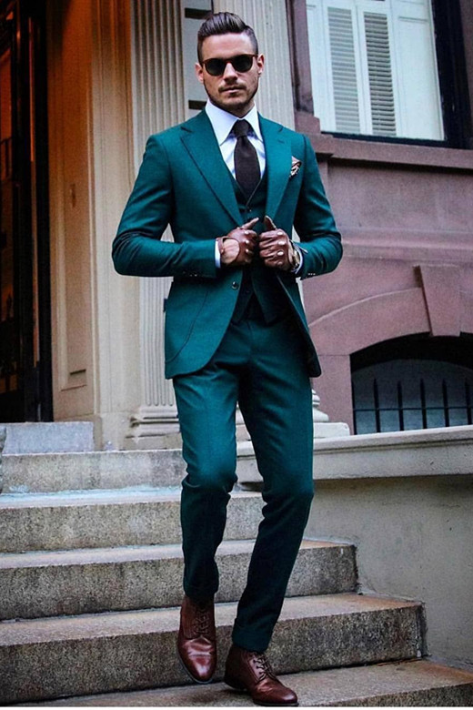 Rogelio Fashion Green Notched Lapel Three Pieces Slim Fit  Men Suits