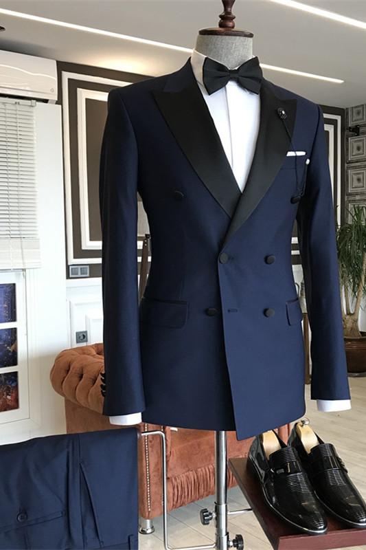 Nico Dark Navy Peaked Lapel Double Breasted Slim Fit Men Suits
