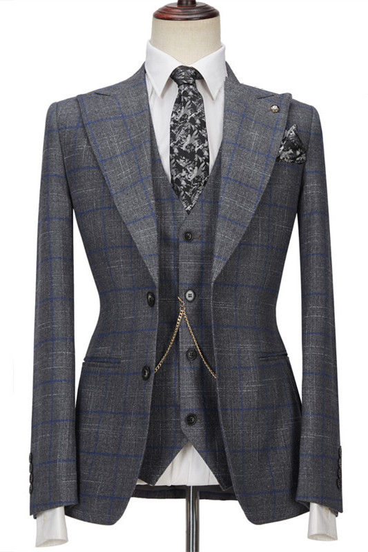 Brendon Gray Bespoke Notched Lapel Three Pieces Plaid Slim Fit Formal Suits