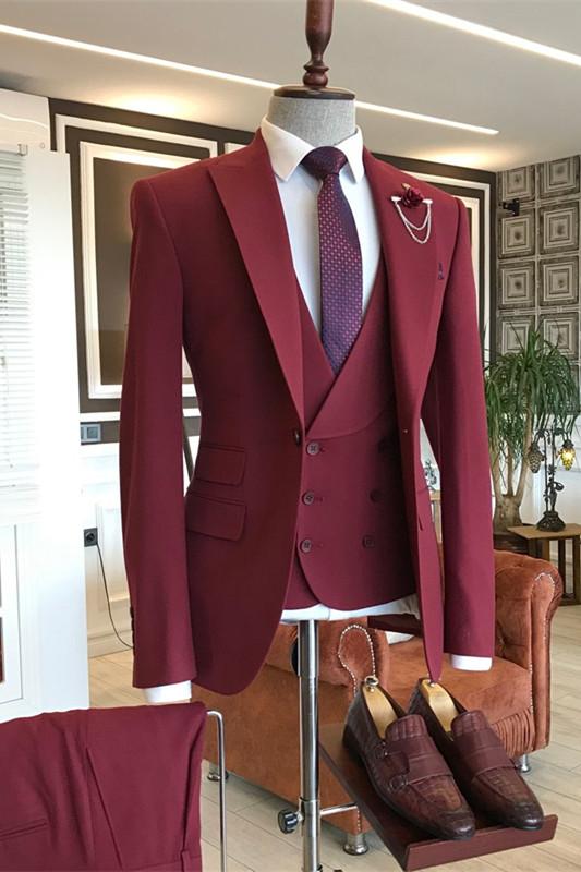 Aldo Dark Red Three Pieces Peaked Lapel Men Suits