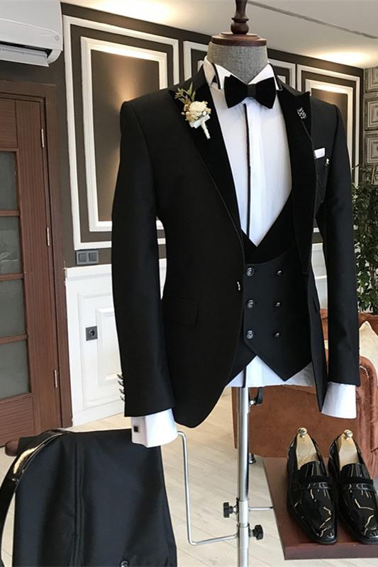 Stylish Black New Arrival Slim Fit 3-Piece Peaked Lapel Men Suits