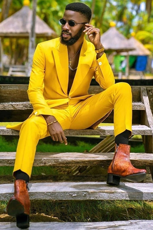 Ahmad Hot Yellow Peaked Lapel One Button Men Suits for Prom