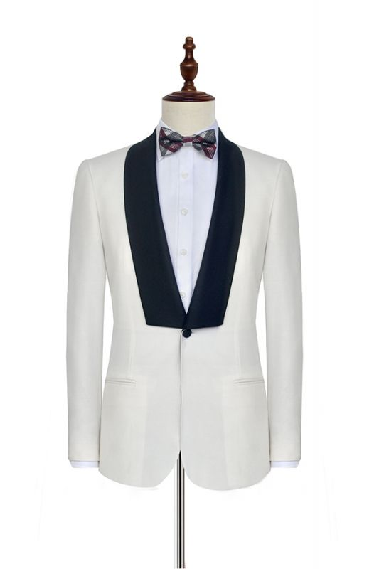 Black Knife Collar Classic White Wedding Suits for Men | One Button Custom Wedding Tuxedos Cheap