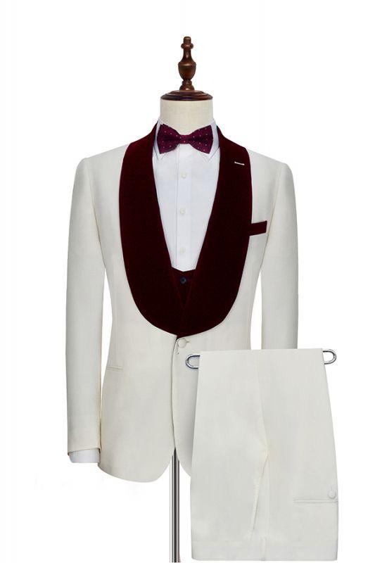 Velvet Shawl Collar White Wedding Tuxedos | Three Piece Wedding Suits with Burgundy Vest