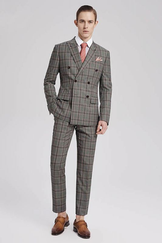 Custom Made Pink Checked Pattern Double Breasted Grey Mens Suits Sale for Business