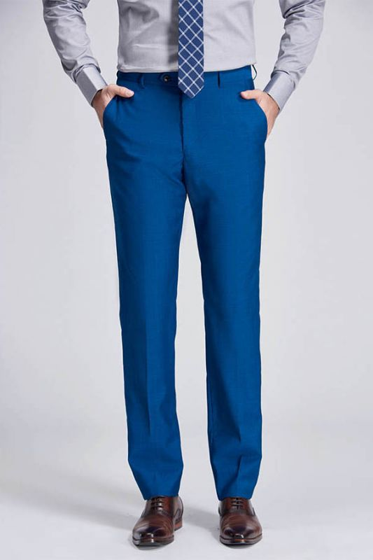 Emiliano Stylish Solid Blue Straight Suit Pants for Men