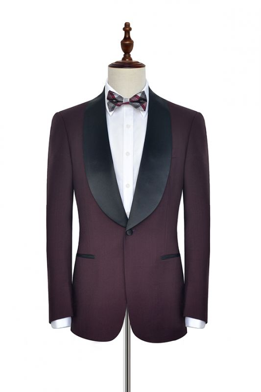 Luxury Black Shawl Collor One Button Wool Burgundy Wedding Suits for Men