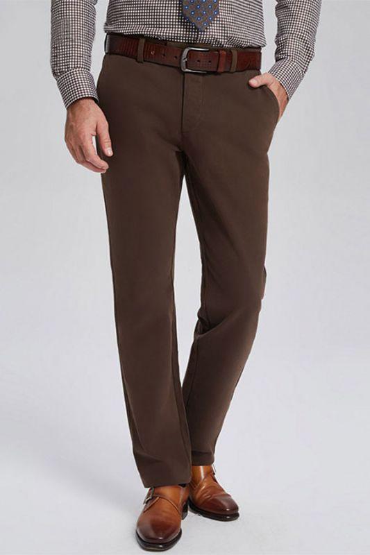 Lane Brown Cotton Straight Mens Business Pants