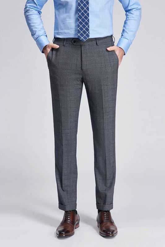 Check Pattern Modern Grey Pants for Business Suits