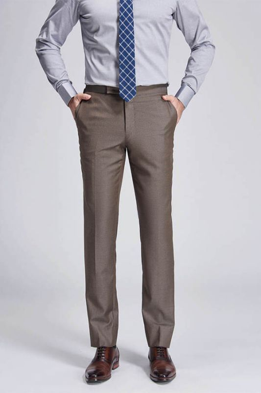Jalen Formal Straight Solid Brown Casual Mens Pants