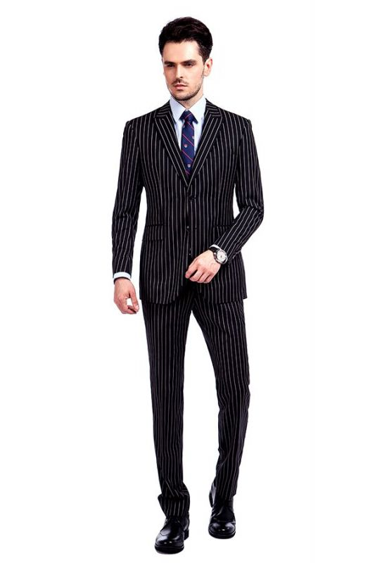 Tristen Modern Stripes Mens Leisure Suits   Black Suits for Prom