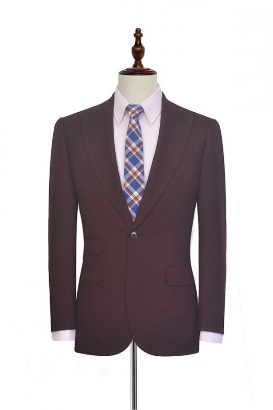 Peak Lapel Burgundy Suits for Men | One Button Business Suits for Formal