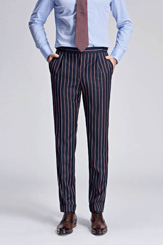 Red and Light-colored Stripes Dark Navy Modern Men's Pants
