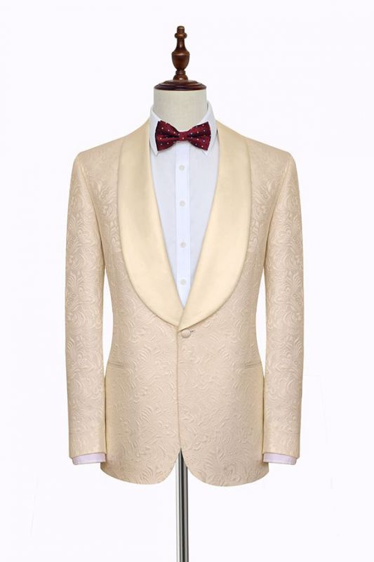 Noble Champagne Jacquard Wedding Tuxedos for Groom | Silk Shawl Lapel Cheap Prom Suits