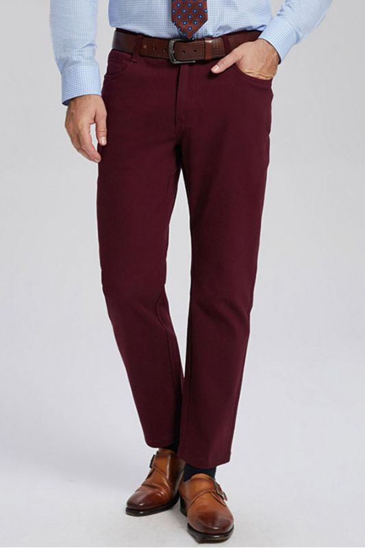 Classic Burgundy Cotton Straight Mens Daily Pants for Business