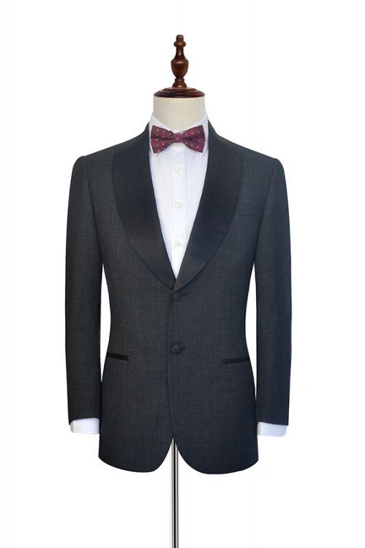 Classic Dark Grey Black Shawl Collar Wedding Tuxedos | Two Buttons Custom Wedding Suits for Men