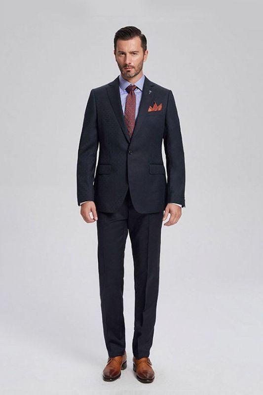 Brett Elegant Navy Blue Jacquard Mens Suits for Business