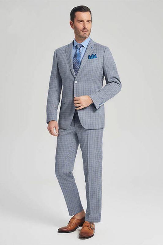 Casual Light Grey Suits for Men | Blue Grid Mens Leisure Suits Sale