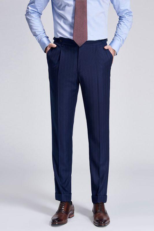 Gentlemanly Light Stripes Blue Pants for Formal Mens Suits