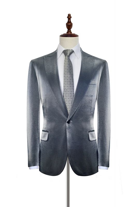 Shiny Silver Tailored Prom Suits Cheap | Glittering Peak Lapel Custom Suits for Men