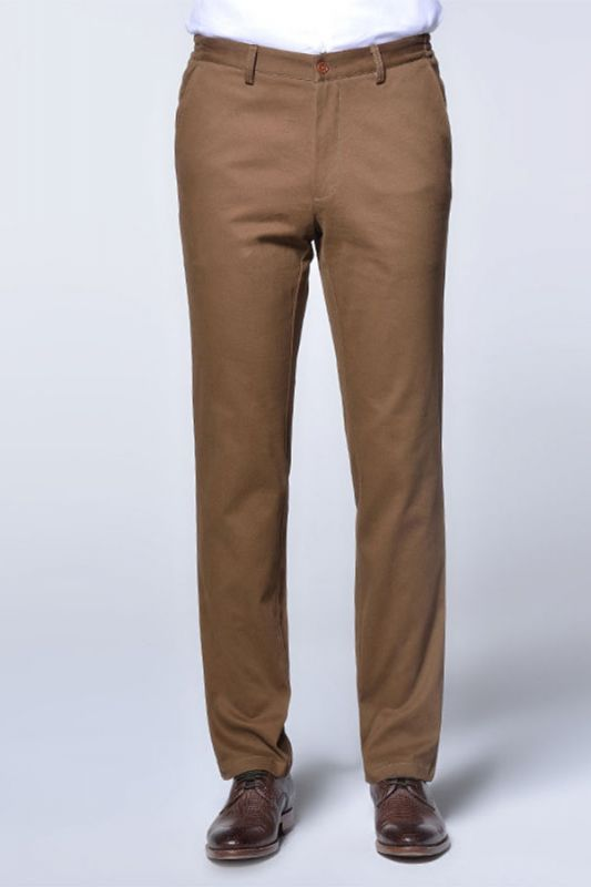 Casual Cotton Pants Solid Brown Slim Fit Daily Trousers