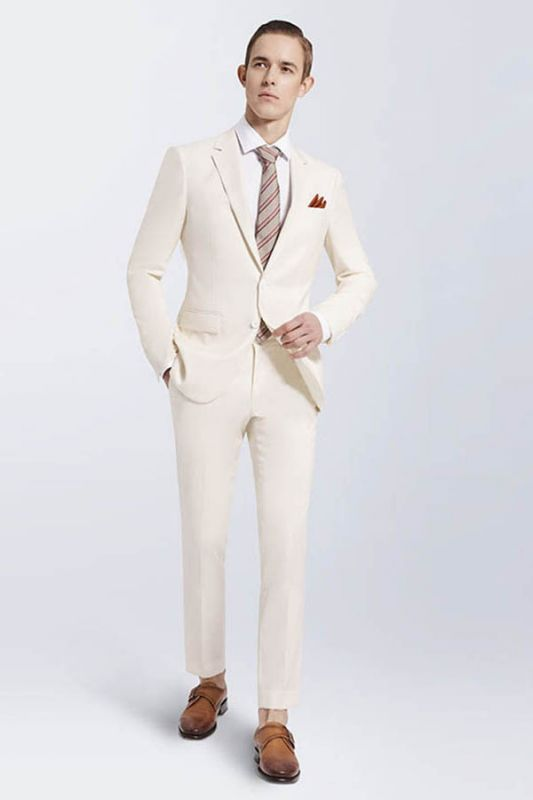 Modern Cream Slim Fit Prom Suits Cheap | Notch Lapel Custom Casual Leisure Suits for Men