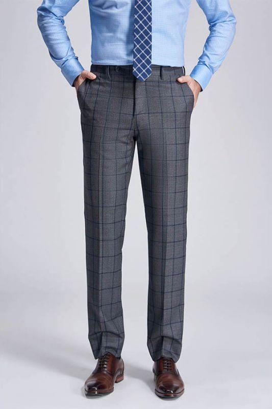 Big Plaid Fashionable Grey Mens Pants for Suit