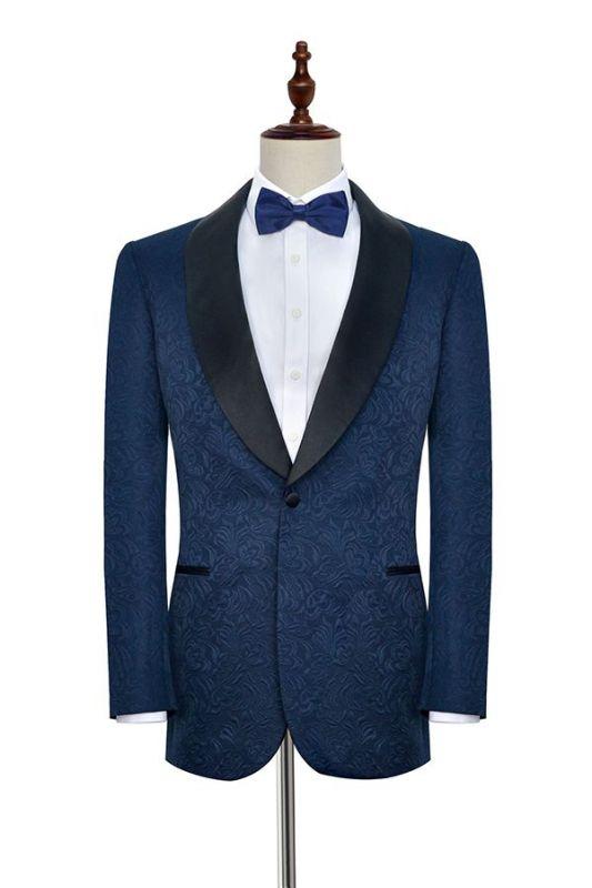 Bennett Navy Blue Mens Suits for Weddings | Jacquard Black Silk Shawl Lapel Prom Suits